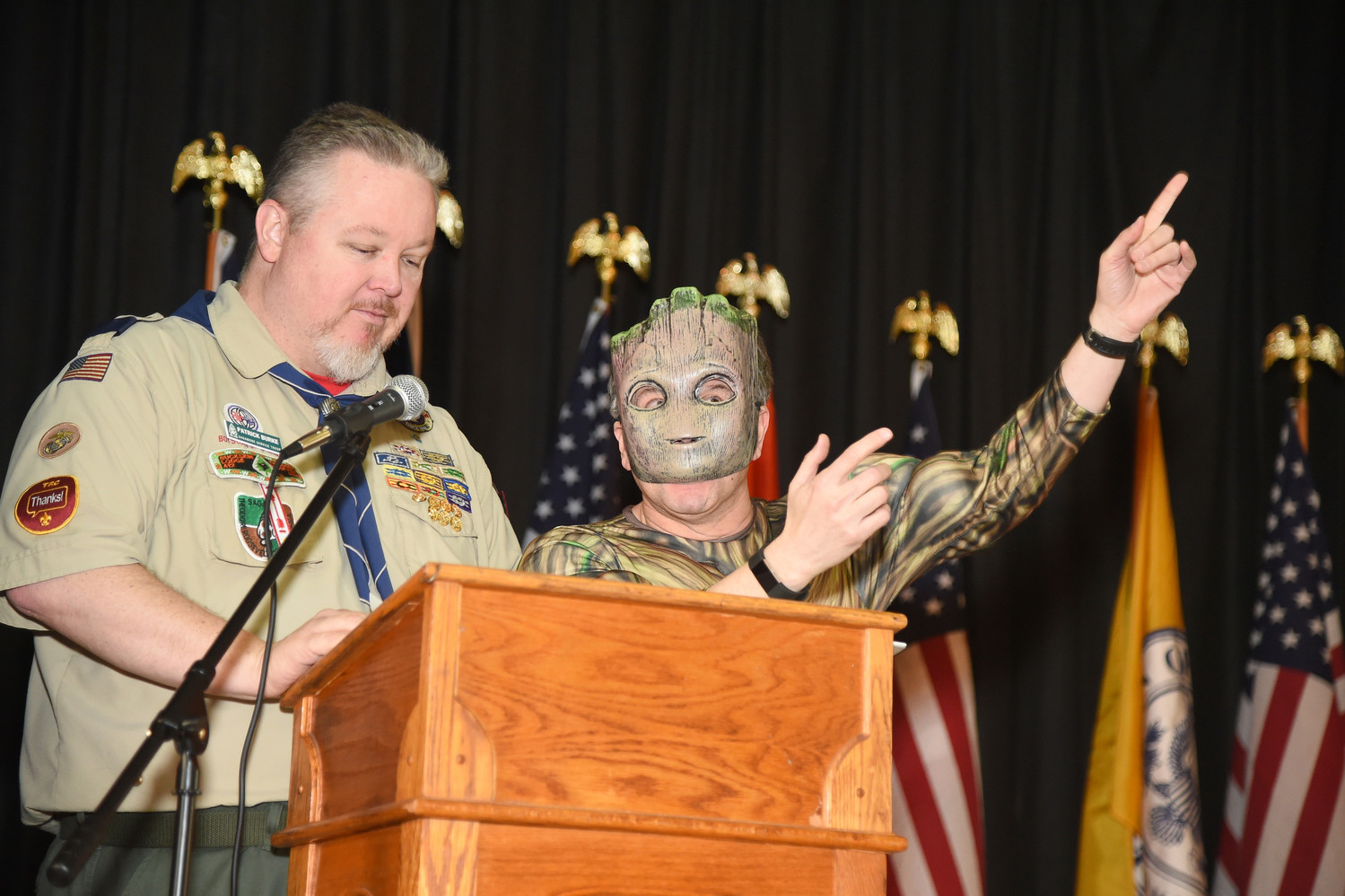 Patrick Burke and Carlos Caban, dressed as Groot, spoke to the Cub Scouts.