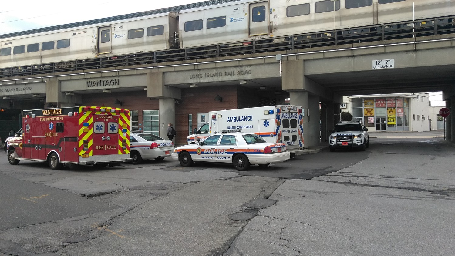 Police and ambulances responded when 11 people were trapped in the newly installed elevator at the Wantagh train station on March 9.