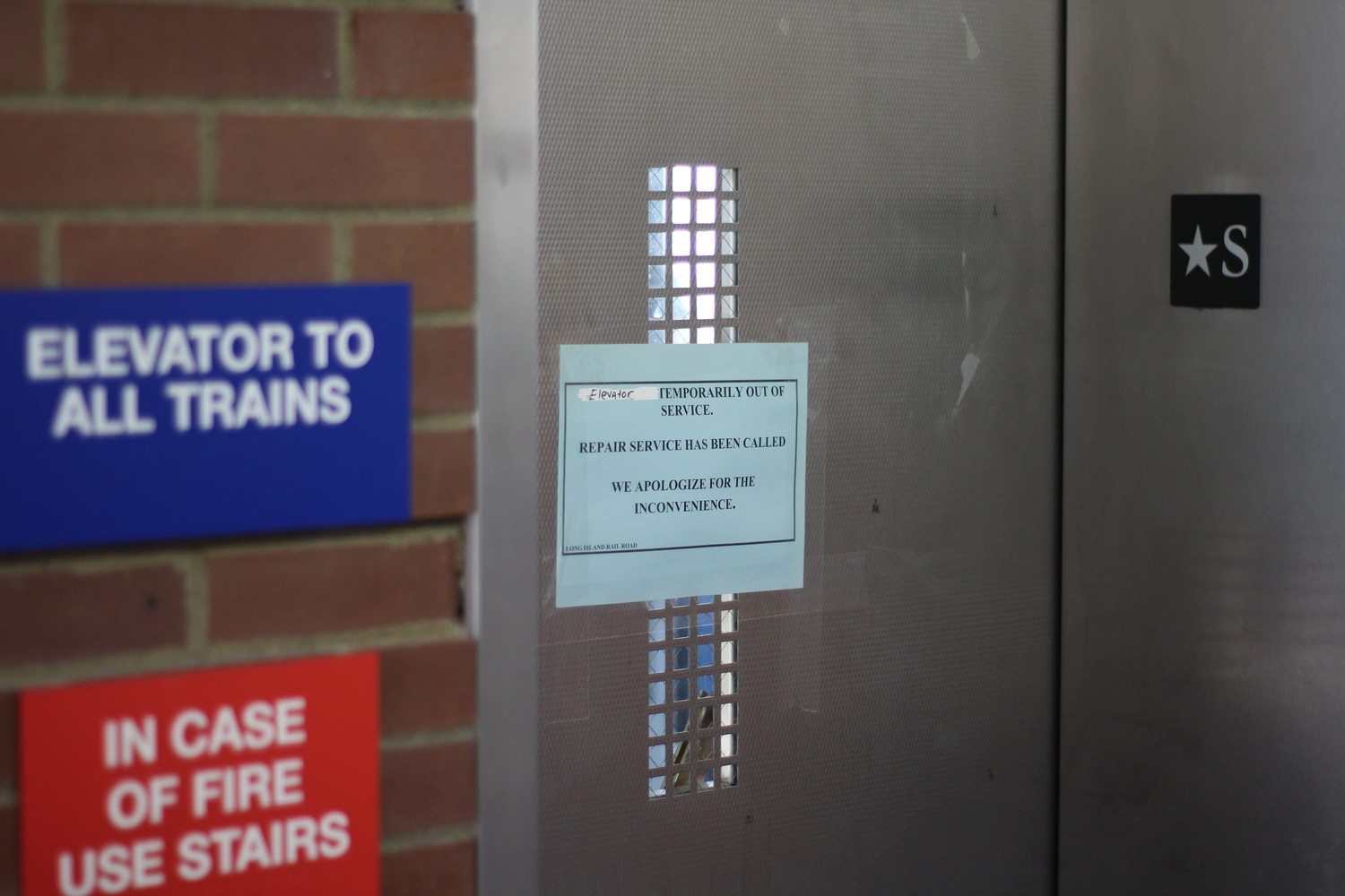 The elevator remained out of service on Monday after 11 commuters were trapped in it on March 9.