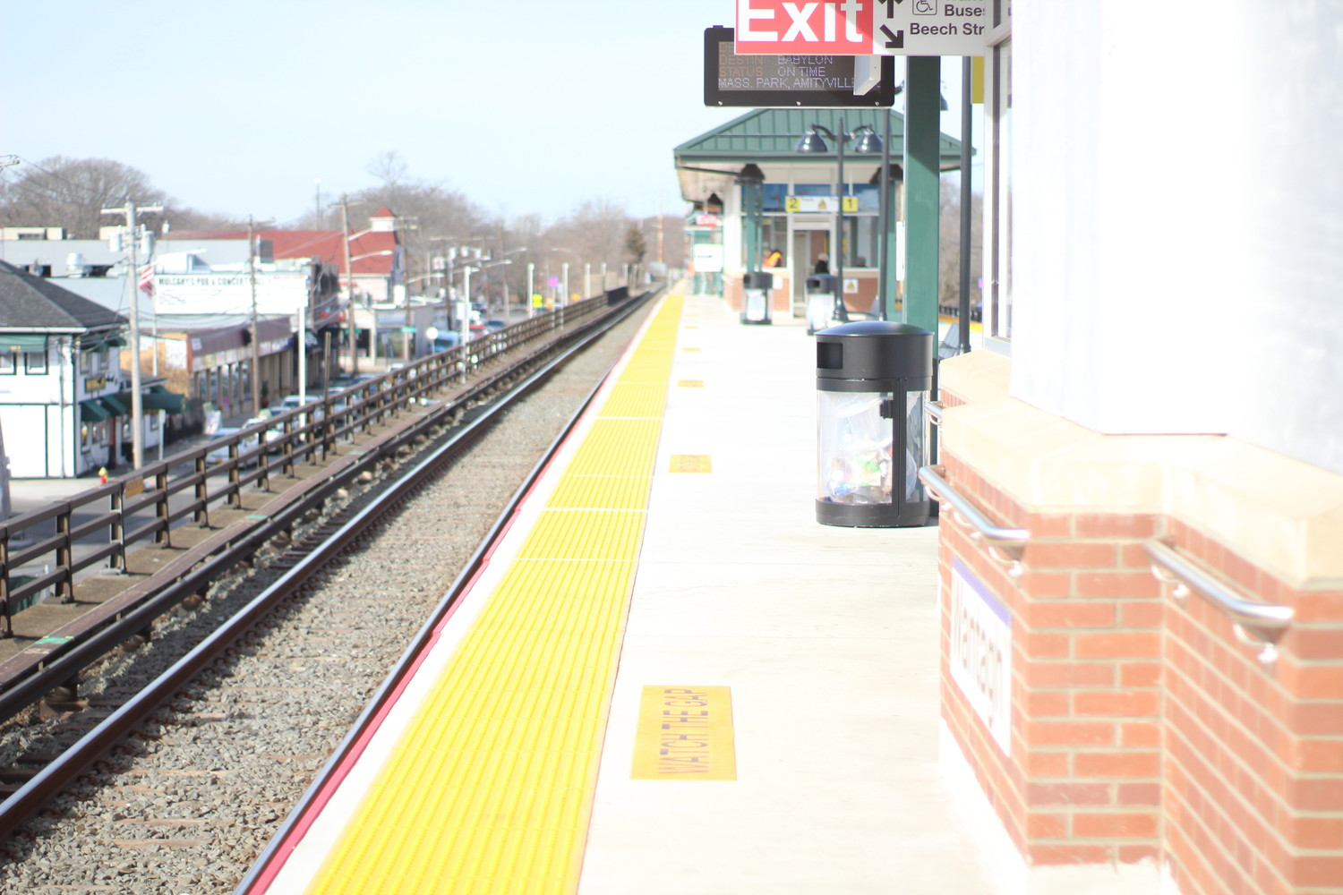 New electronic signs adorn a refurbished section of the Wantagh LIRR station platform. Phase 2 of the project is scheduled to be completed this fall.