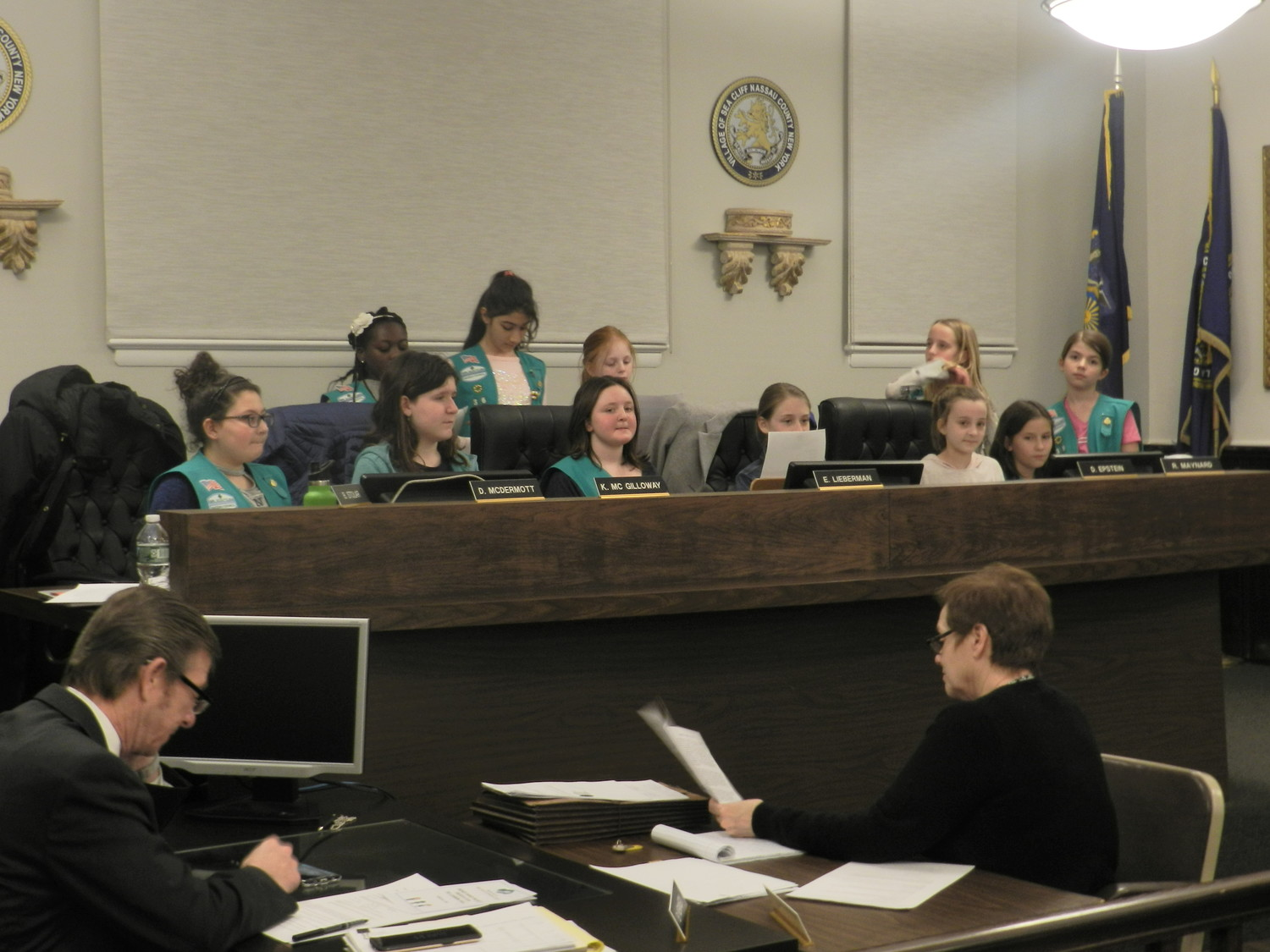 Girl Scout Troops 64 and 36 took over the board to present their proposal to paint a mural at Sea Cliff's beach pavilion.
