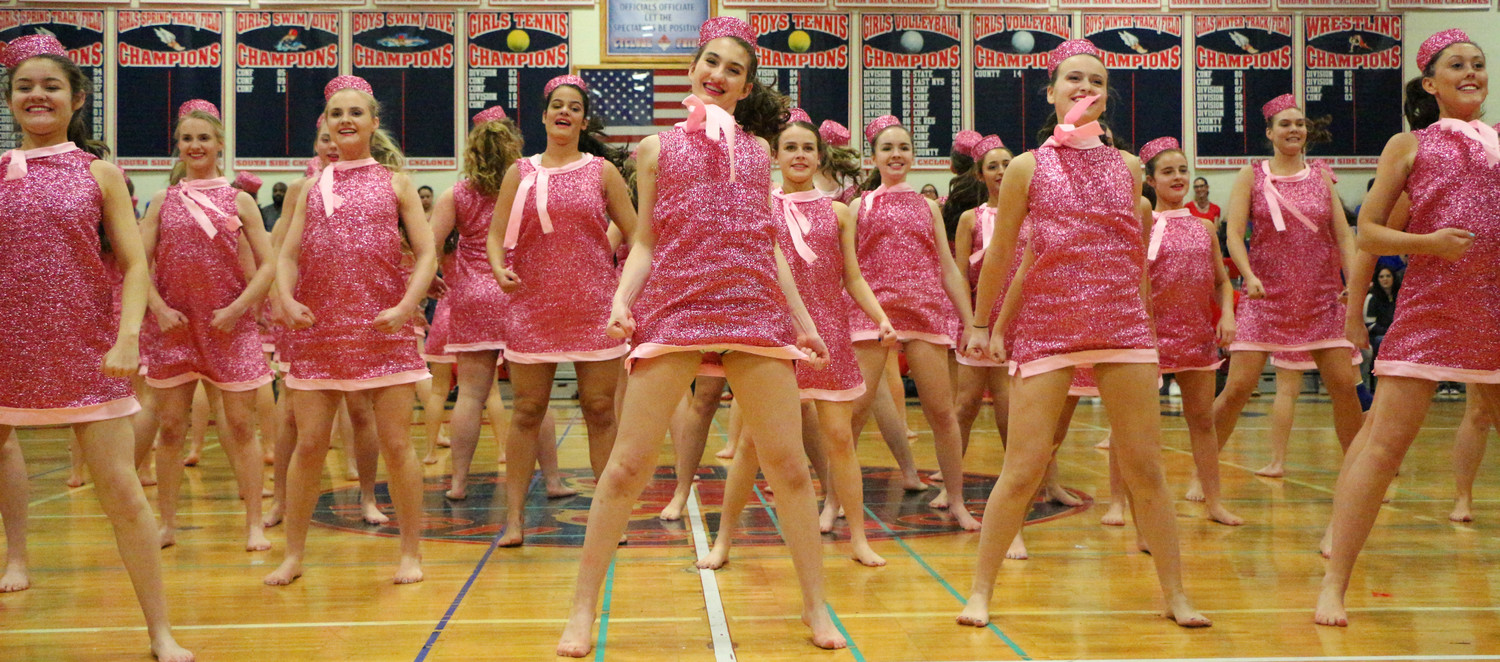 "Blue Team dancers dressed as Elle Woods, from ""Legally Blonde,"" for one of their dance routines last weekend, in conjunction with their theme, ""Legally BLUE."""