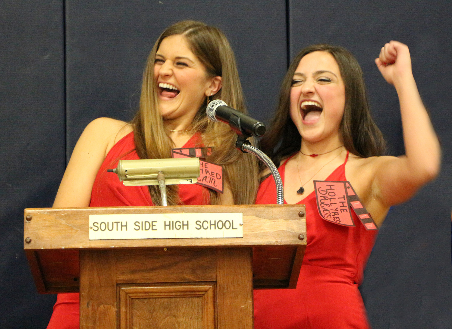 Red captains Elizabeth Preldakaj, right, and Olivia Watterson said thanks to their teammates for all of their support.