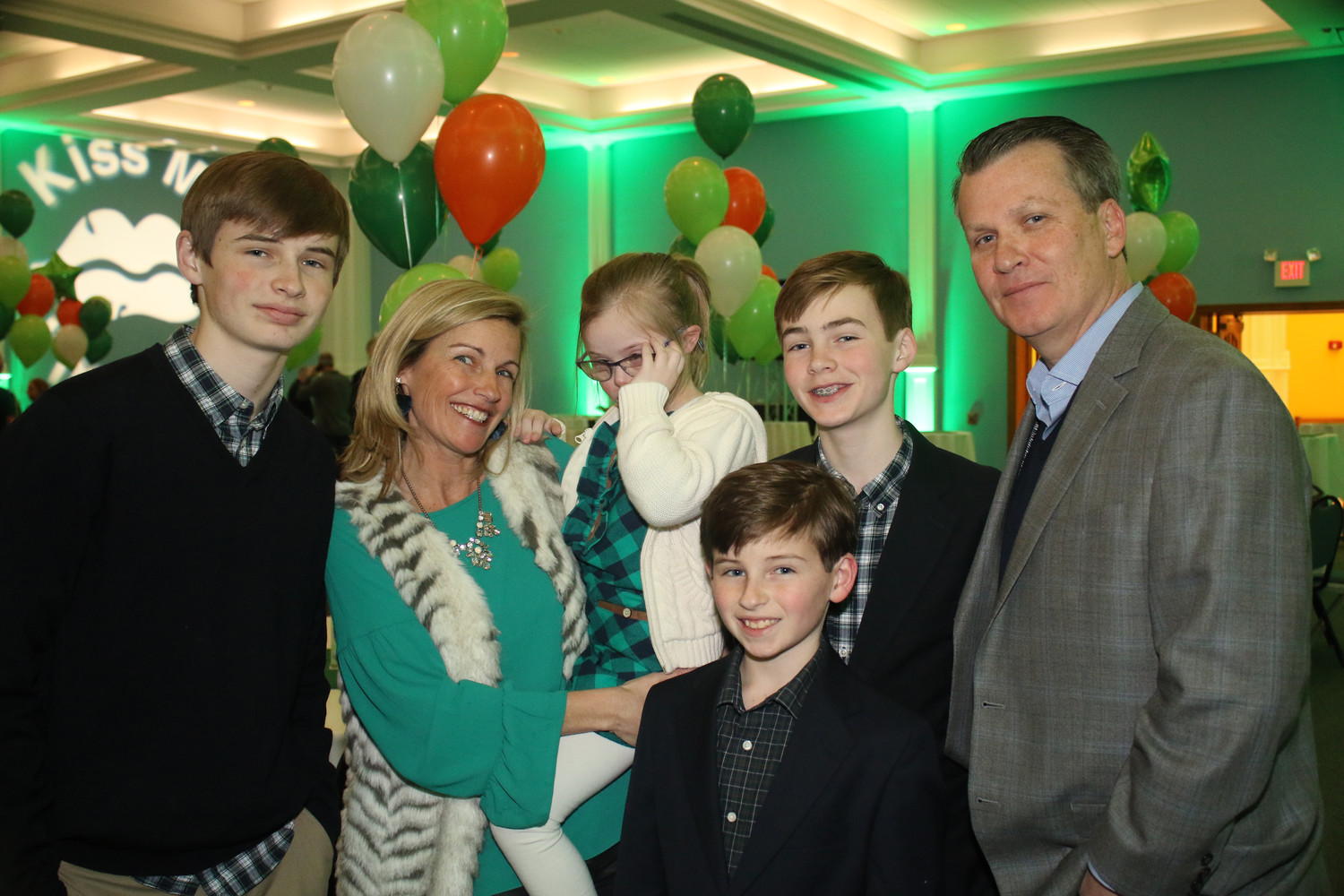 Tracy Kirley, second from left, of Rockville Centre, was honored at the celebration. She joined her sons Danny, 15, left, Timmy, 13, Kevin, 11, daughter Bryn, 8, and her husband, Gene.