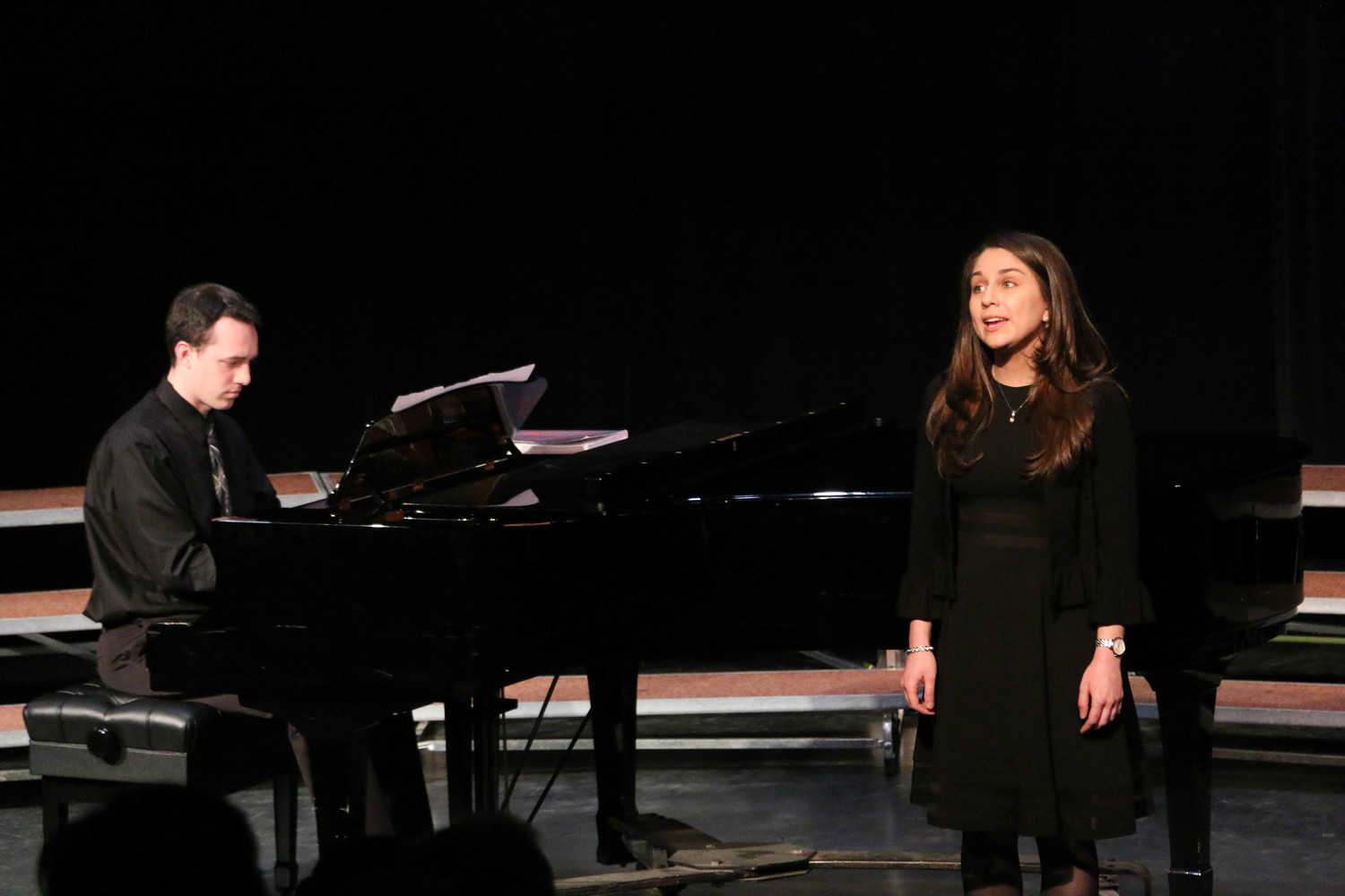 "Hofstra graduates Christina Cinnamo, right, and Robert Lombardo, former students of Howard Cinnamon, performed ""Anyone Can Whistle,"" by Stephen Sondheim."