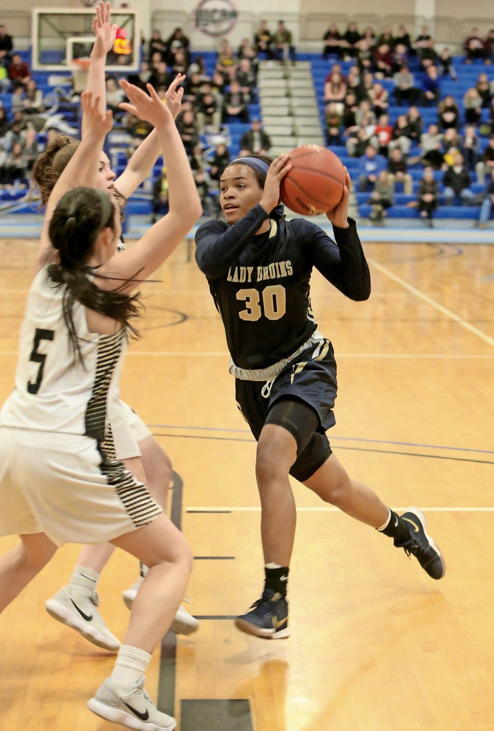 Senior Donnetta Johnson, right, scored 14 points in Baldwin's 78-48 victory over Commack in the L.I. Class AA championship game.