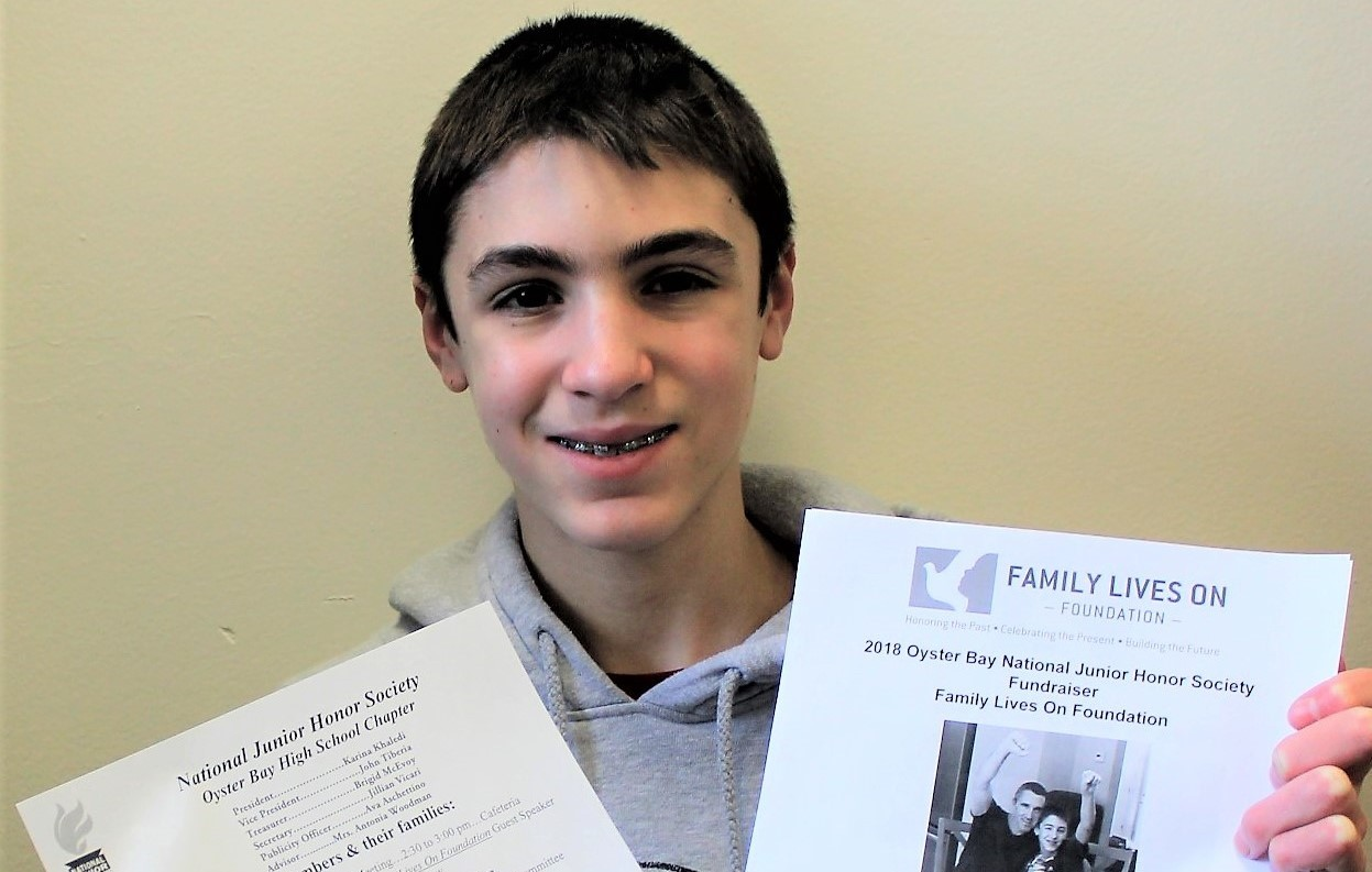 Eighth-grade student Matthew Carlinsky is selling raffle tickets throughout the month of March to benefit grieving families.