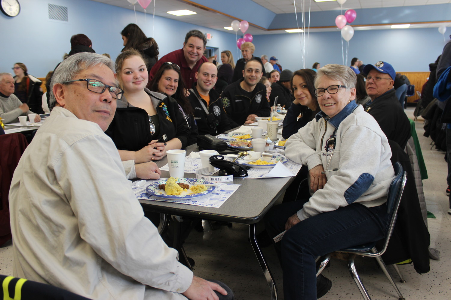 Members of the East Meadow Fire Department's Rescue Company 5 were joined with friends at the East Meadow Kiwanis Club's annual pancake breakfast on March 11. Pictured are George Choy, left, Sam Mongello, Robin Fitzpatrick, Ross Schiller, Max Solomon, Goram Abaishvili, Kathy Walsh, Alba Dougherty and George Walsh.