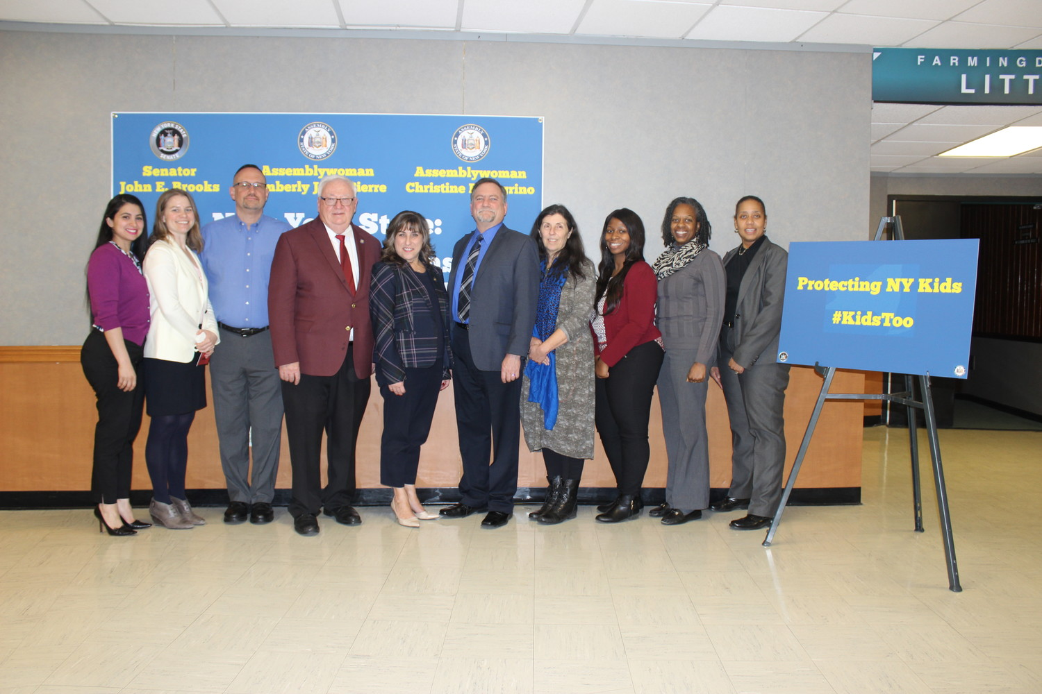 Local activists called for the passage of the Child Victims Act at an event hosted by State Sen. John Brooks on March 8 at Farmingdale State College. Above were Ana Wagner, left, Bridie Farrell, Harold Siering, Brooks, Sen. Christine Pellegrino, James Leander, Naomi Barasch, Lasheca Lewis, Jackie Gordon and Kim Bryson.