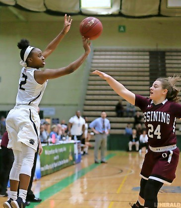 Baldwin's Aziah Hudson released a shot over Ossining's Kelsey Quain during the Lady Bruins' 87-60 victory in last Sunday's NYS Class AA final at Hudson Valley Community College.