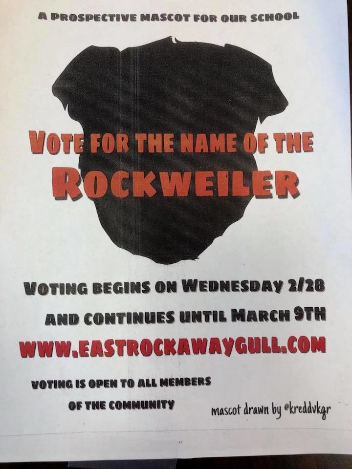 A flyer was sent out to East Rockaway residents asking them to vote to name the proposed Rockweiler mascot, which would replace Rockman.