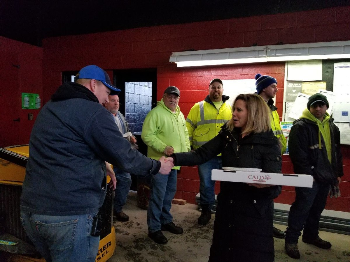 Town of Hempstead Supervisor Laura Gillen was out and about delivering pizzas to town plow crews that had to work overnight clearing roads during the nor'easter.