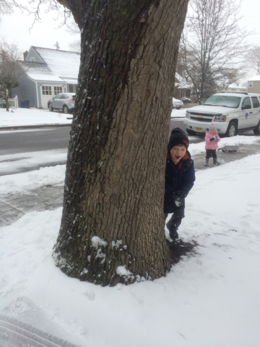 Sam Barry, 6, and Cassandra Barry, 2, played in a snowball fight