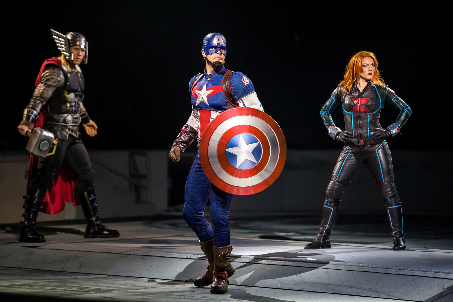 Captain America Thor and Black Widow are ready for action.
