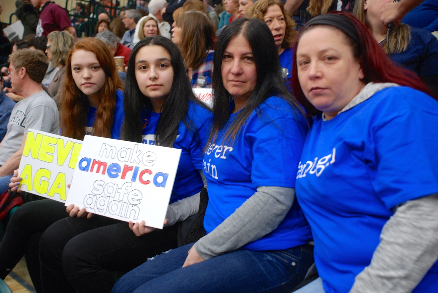 From left were Mackenzie Gentilesco, a ninth-grader at Lindenhurst High School; her friend Gianna Pfeiffer, a ninth-grader at H. Carey High School in Franklin Square; and their mothers, Camile Pfeiffer and Lisa Gentilesco.