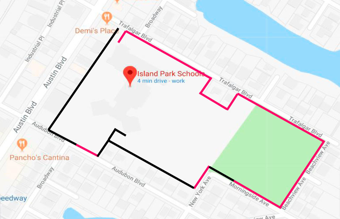 Island Park's Lincoln Orens Middle School will be surrounded by a 5-foot-high fence along the pink lines shown above. The black lines represent existing fencing.