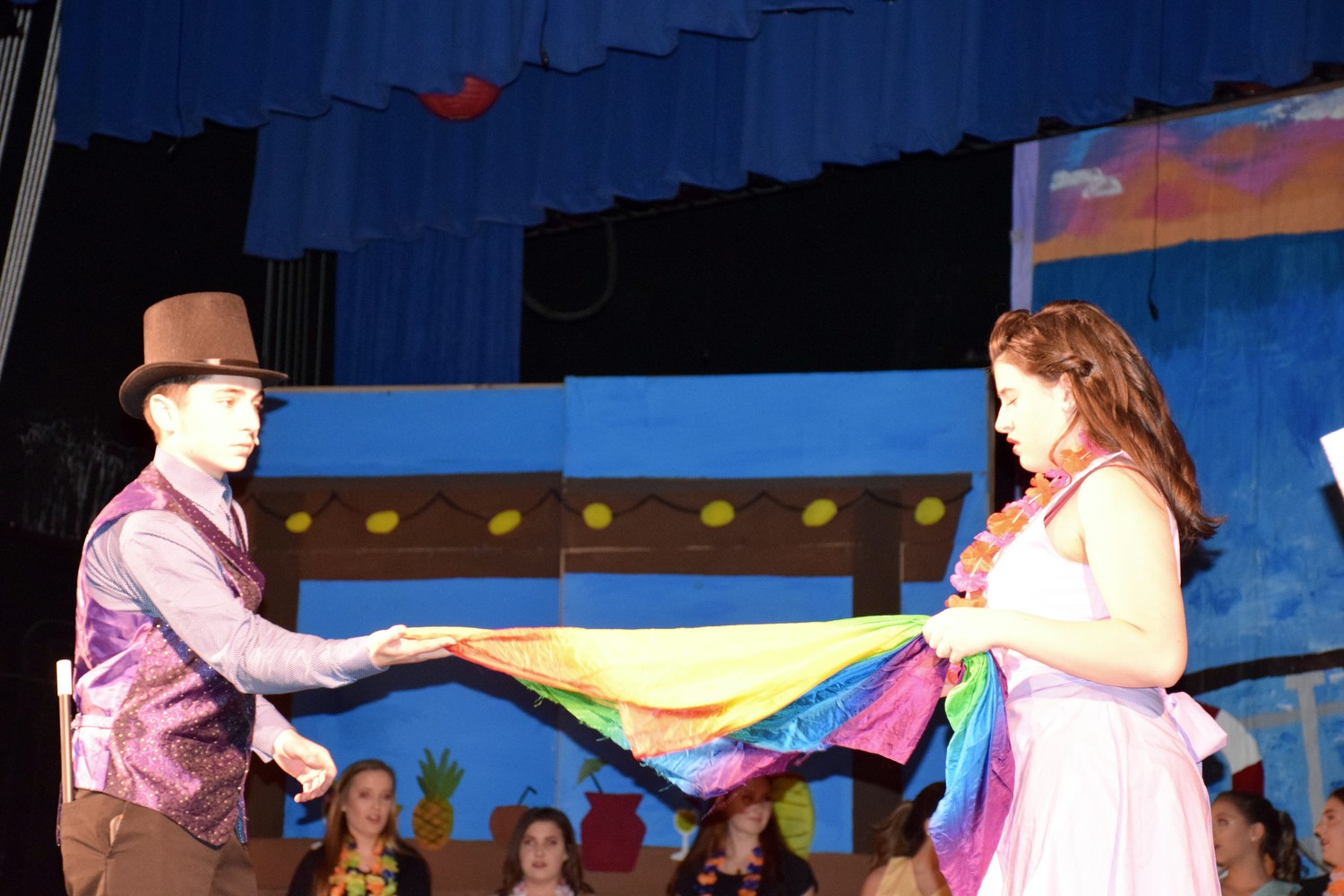 """Max"" (junior Daniel Salazar) and ""Ruby"" (junior Lauren Boll) traveled back in time in the students' performance of ""Crusin' Past the Present."""