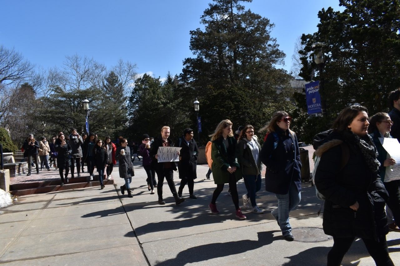 Roughly 70 Hofstra University Students Took Part In A March Across Campus  On March 14 To