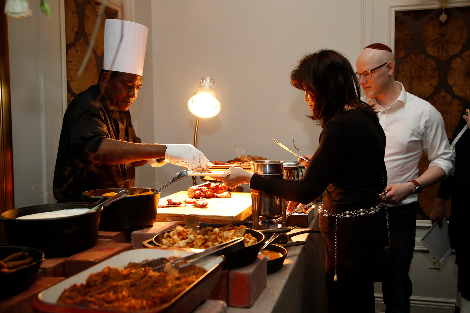 Judy Joszef sampled one of the food stations at the fundraiser.