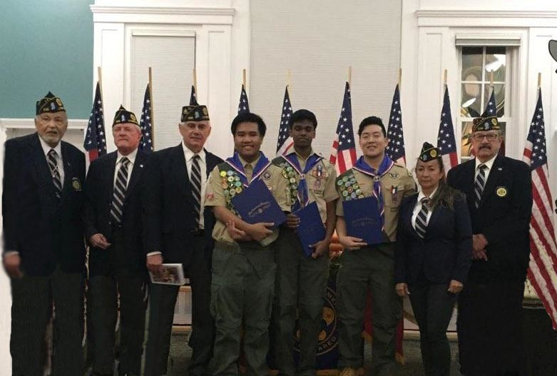 Three Boy Scouts from Troop 336 were named Eagle Scouts on March 10. Above, Lynbrook American Post 335 Legionnaires Tom Galati, left, Dennis Murphy, and Bill Marinaccio; Eagle Scouts Gerimy Layos, Nithin Seelan, and Brandon Maroney; and Post 336 Legionnaires Jessica Guido & Mike Guglielmo.