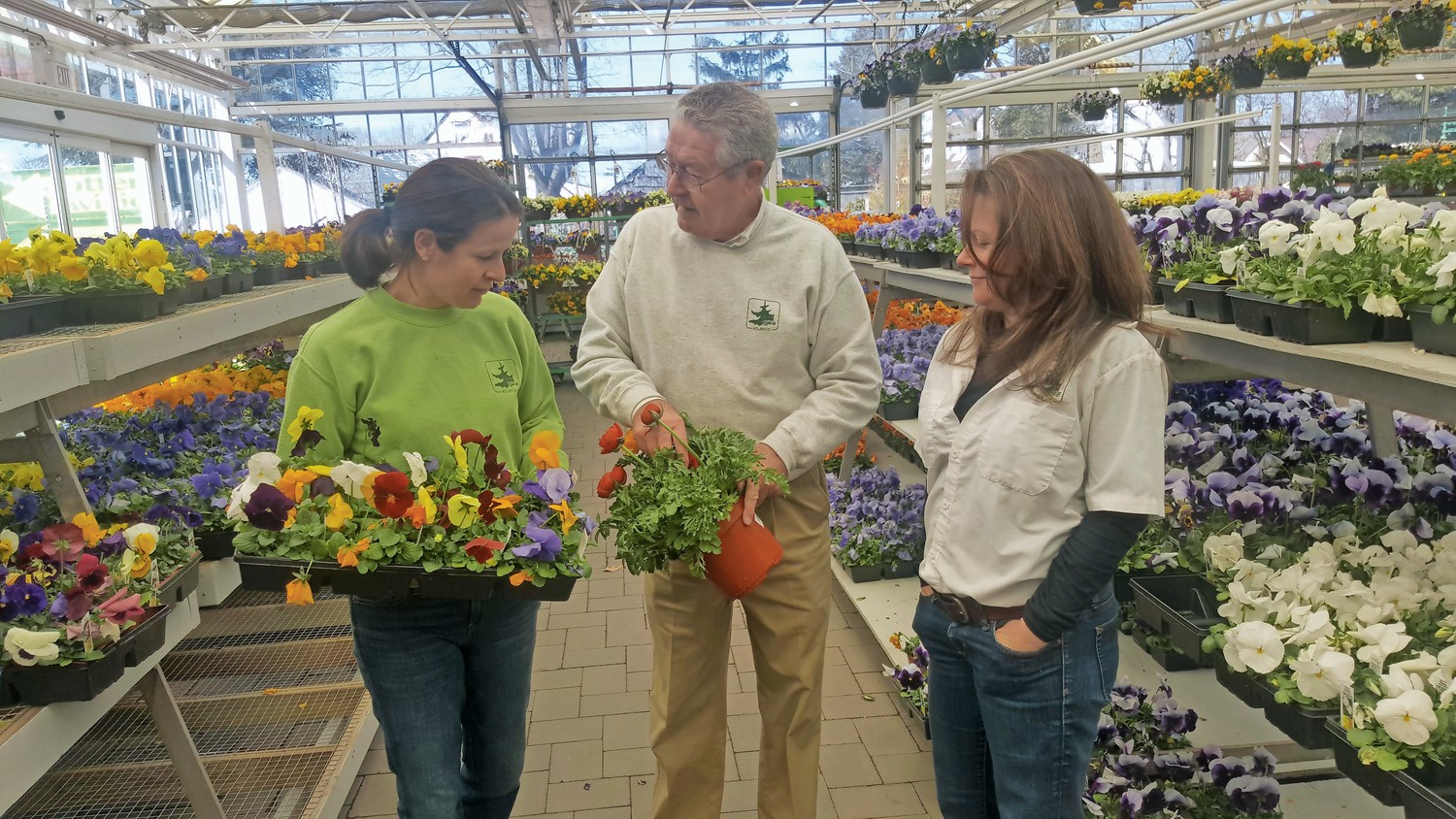 Atlantic Nursery owners in Freeport, Leeanne Kraus, 38, Sigurd Feile, 73 and Christine Feile, 42 marveled and talked about the pansies and other flowers that held up through the last four winter storms in the last month and a half.