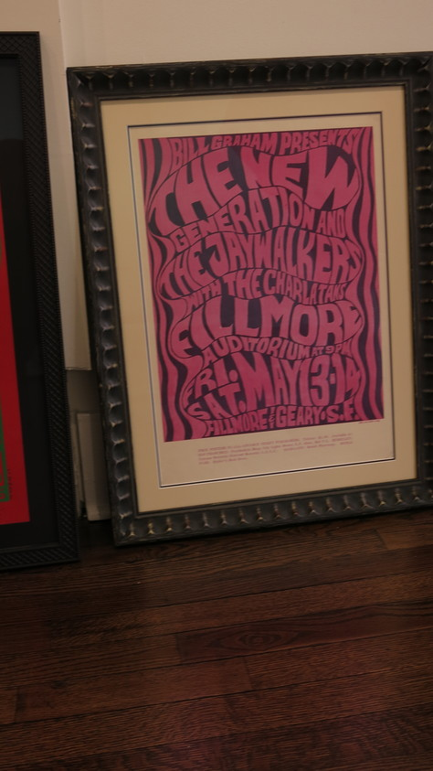 A poster advertising a concert at the Fillmore is one of