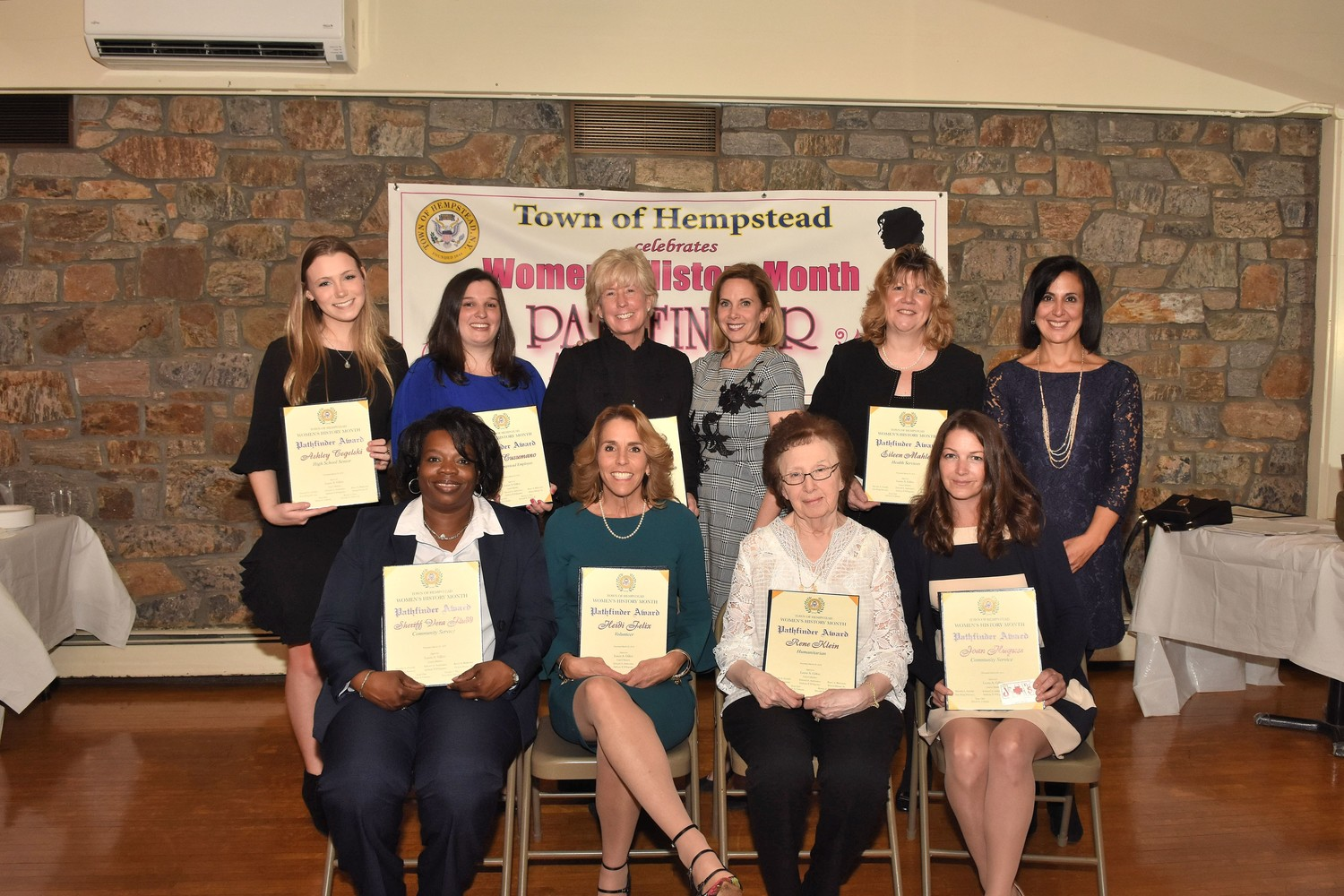 Town Supervisor Laura Gillen and Clerk Sylvia Cabana presented this year's awards.