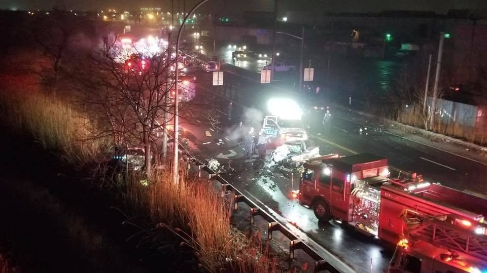 Two Brooklyn residents have been charged in after a fiery crash on the Nassau Expressway on April 4, killed two people, including the daughter of the cantor at Congregation Beth Sholom in Lawrence.