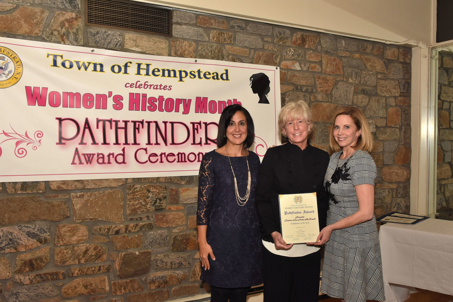 Town Supervisor Laura Gillen, right, along with Clerk Sylvia Cabana attended the Pathfinder awards ceremony at the Merrick Golf Course Clubhouse with Malverne Mayor Patti Ann McDonald, Pathfinder of the Year.