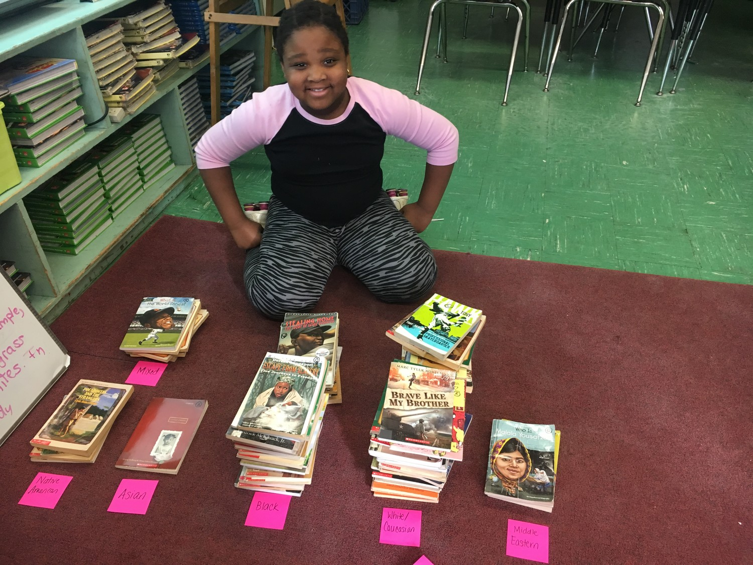 Students at Howell Road Elementary School sorted books in their classroom libraries based on the protagonists' culture.