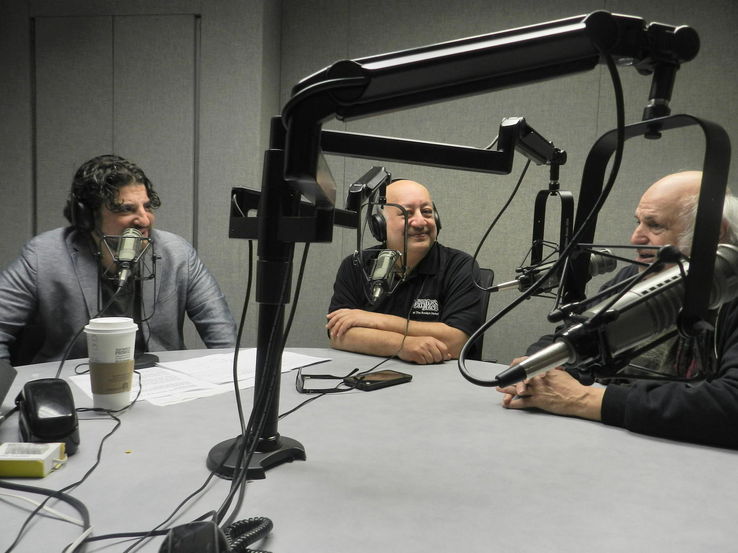 "Jason Samel, far left, talked with Richard Solomon and Mike Epstein, who will be featured guests on his new radio show ""North Shore Now."""
