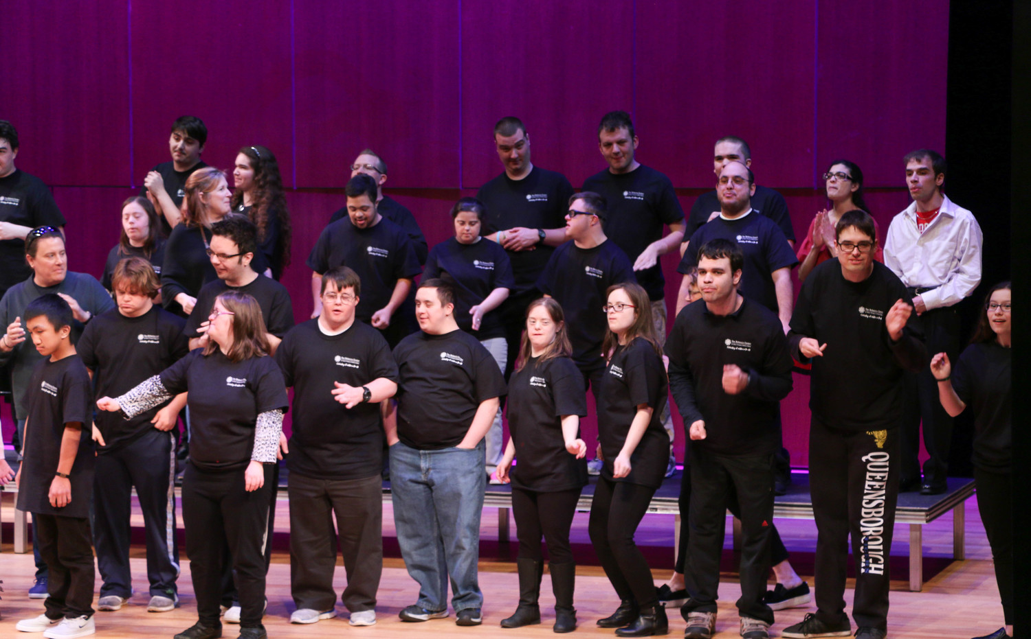 "Members of the Rebecca Center for Music Therapy, Rockville Centre's Backyard Players & Friends and the Molloy College Music Therapy Club performed ""Join Together"" by the Who during a ""Unity Through Diversity"" event at Molloy College on March 28."