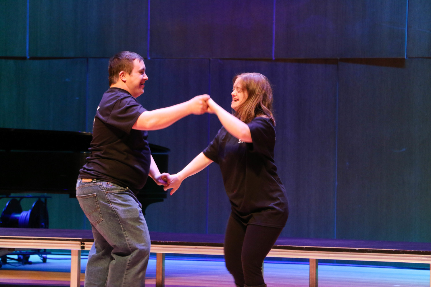 "Tommy Gillece and Caitlin Wilkenshoff danced to ""Footloose"" during a Unity Through Diversity event at Molloy College on March 28. The evening featured performances and artwork from members of Rockville Centre's Backyard Players & Friends."