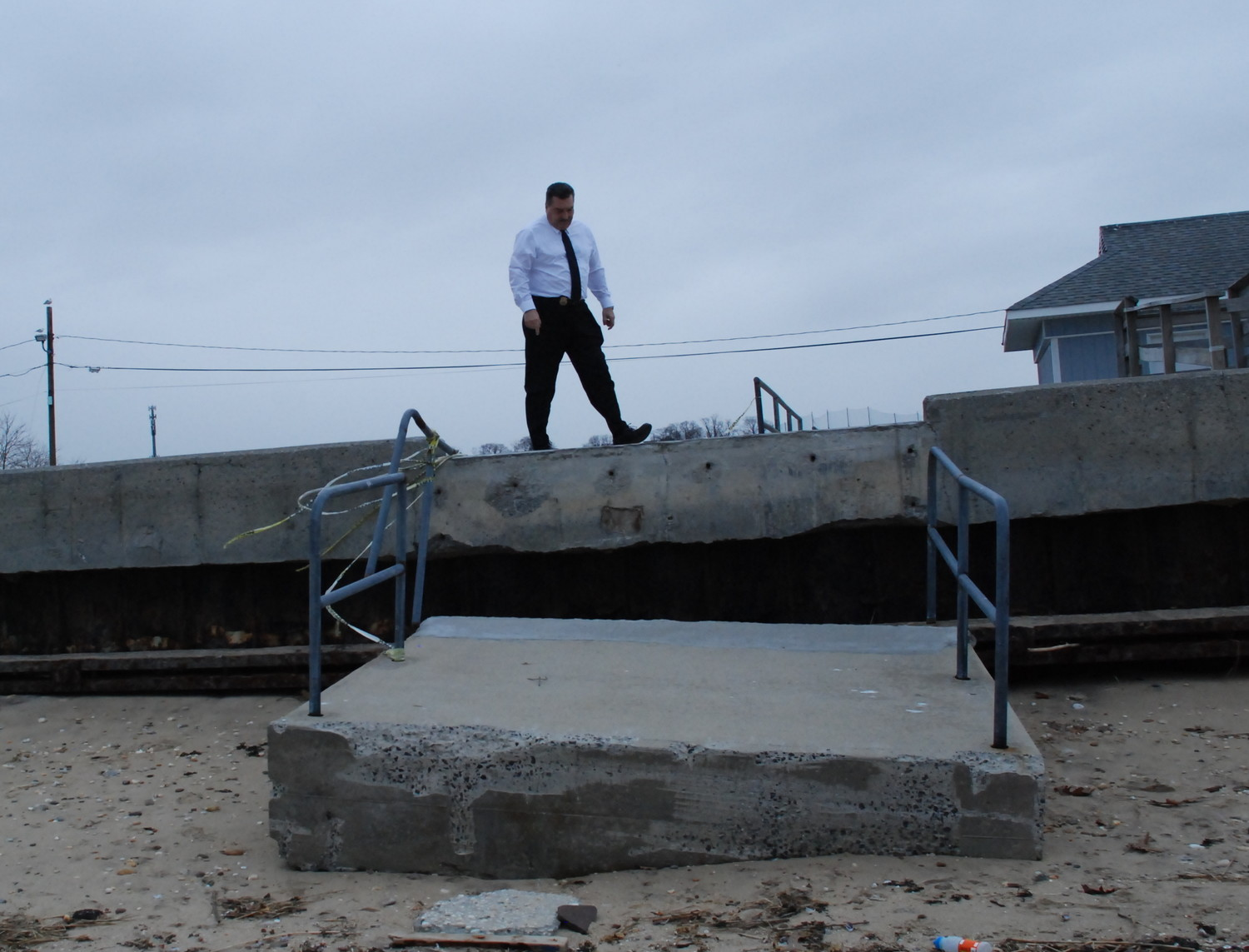 """Right now,"" Mayor Tim Tenke said, looking at the broken access ramp at Prybil Beach, ""if people came down and used the beach, and they weren't paying attention, they could potentially get hurt."""