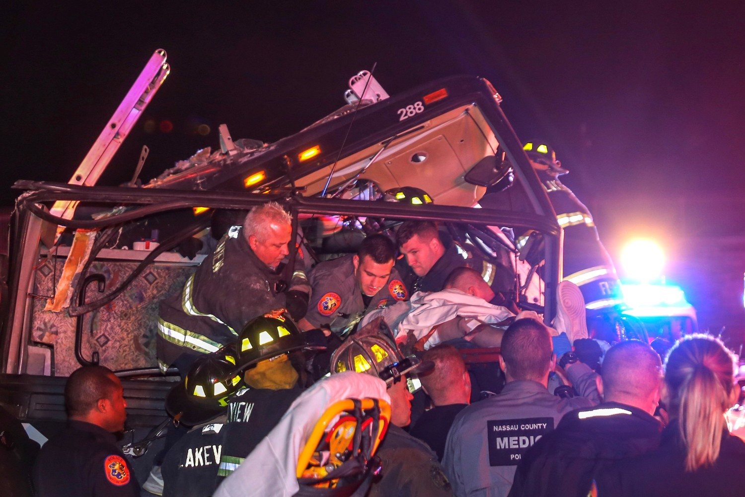 The Lakeview Fire Department and Nassau County EMS workers teamed up to rescue people trapped in the bus.