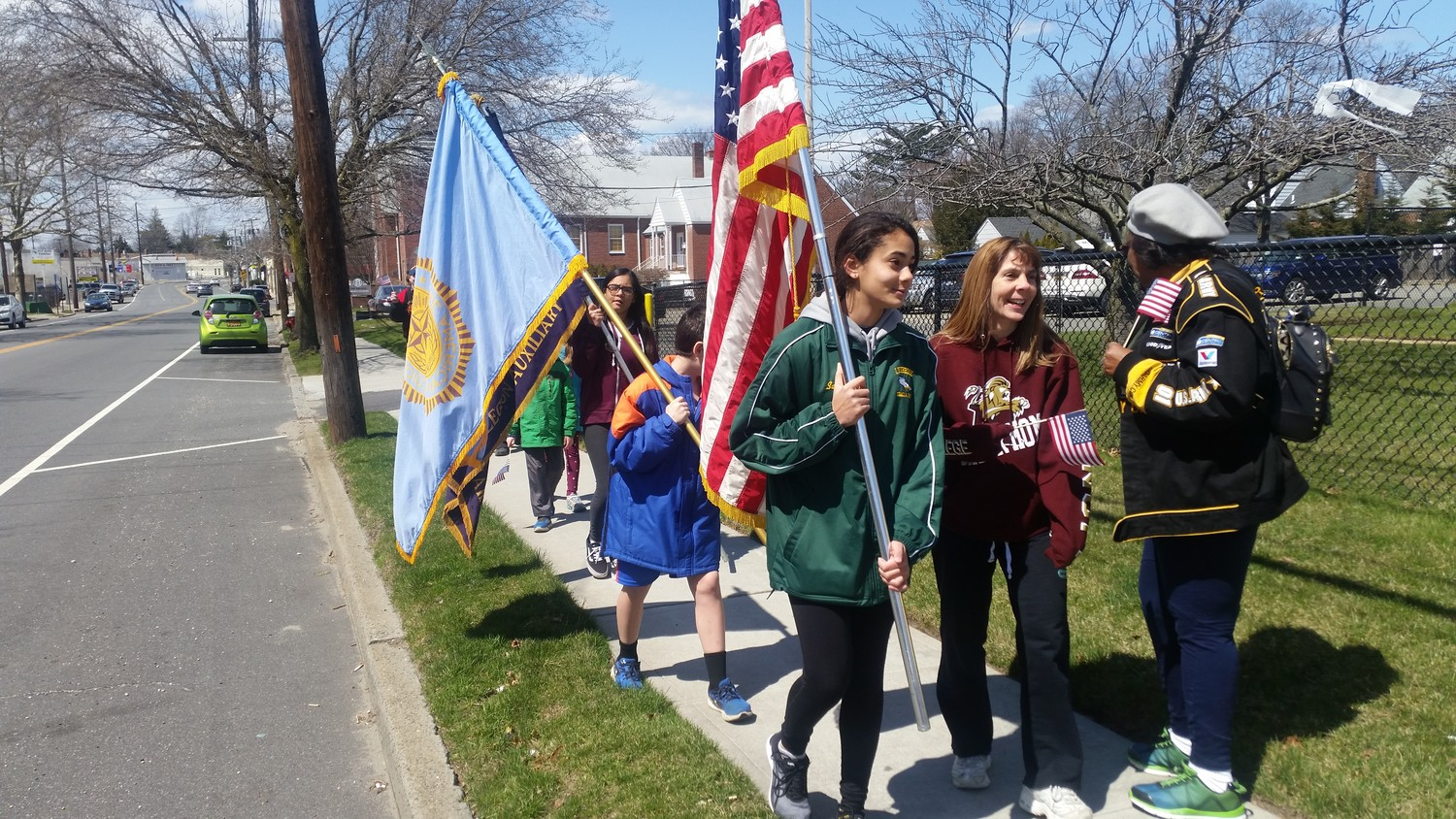 Residents marched along Franklin Ave. for the inaugural Veterans Walk-A-Thon last Sunday.