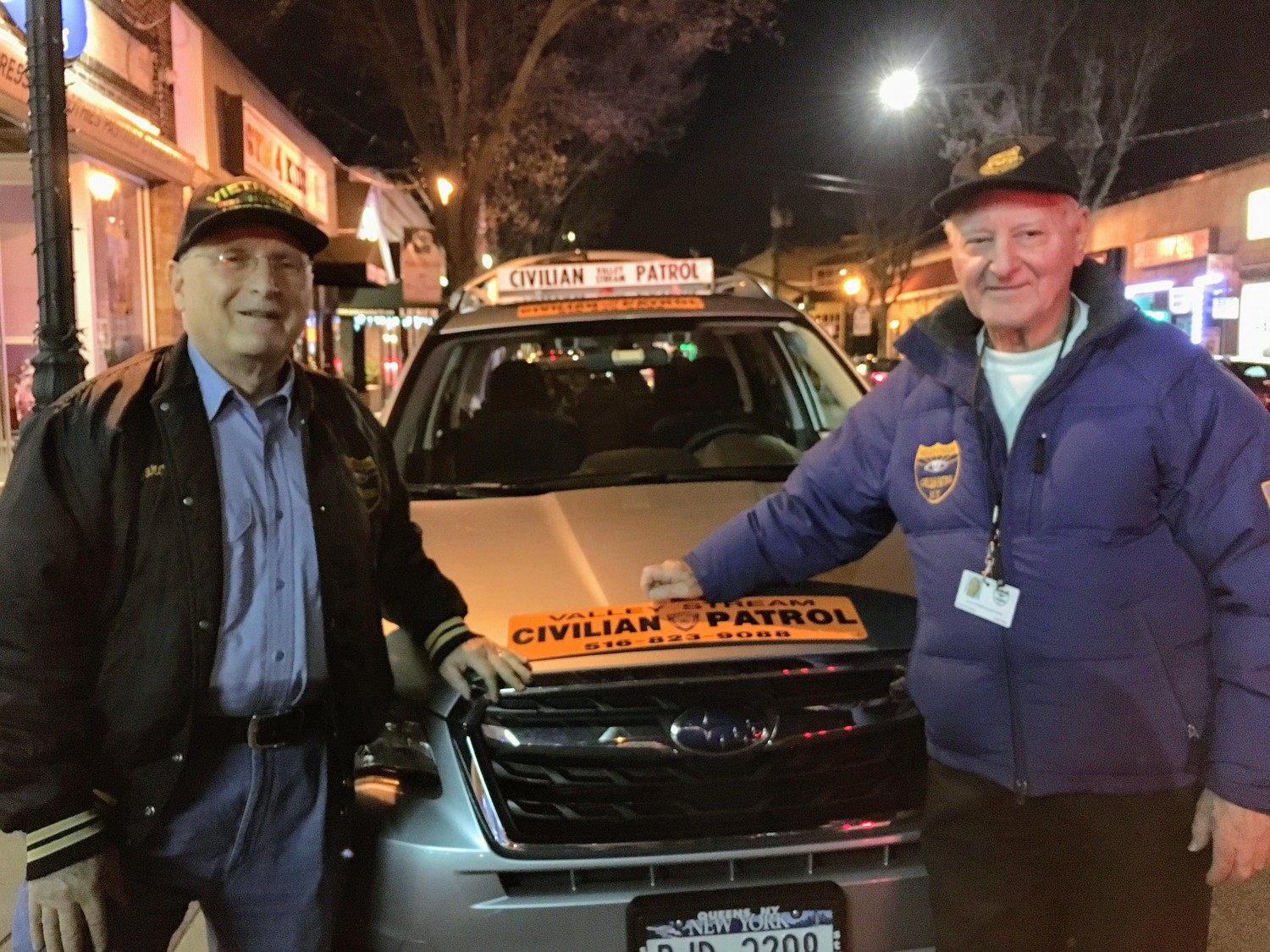 George Catalanotto and Ralph Polverino, above, are the treasurer and president of the Valley Stream Civilian Patrol, respectively.