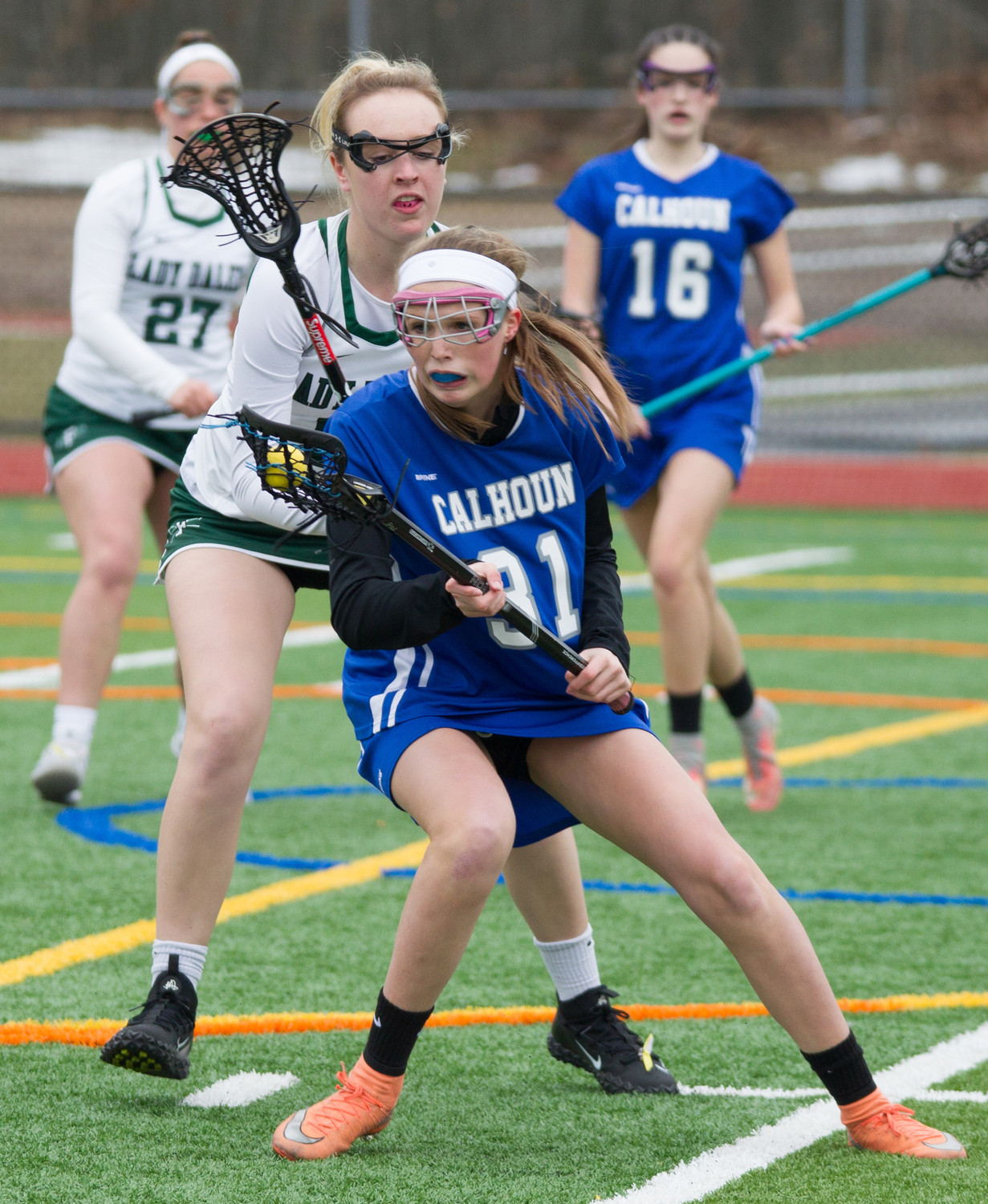 Freshman Riley Raines, No. 31, who scored three goals in a victory over East Meadow on April 4, is part of a youth-filled Lady Colts' roster.