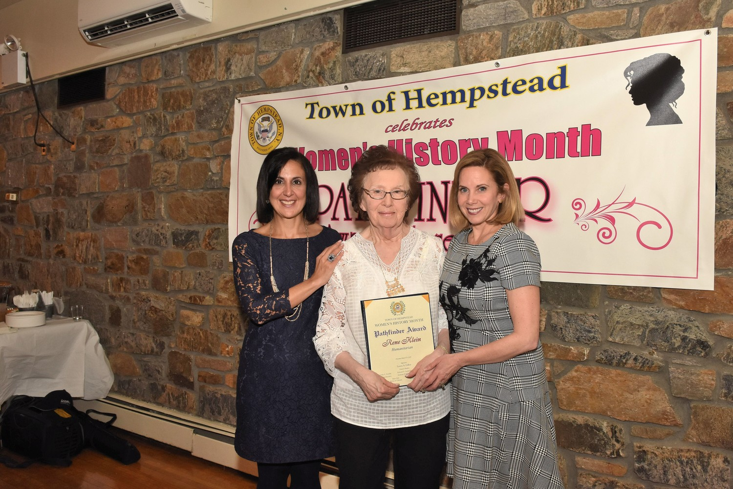 Renee Klein was presented with the Humanitarian Pathfinder Award for her volunteer work every Thursday for the visually impaired and for her charitable contributions to more than 40 organizations.
