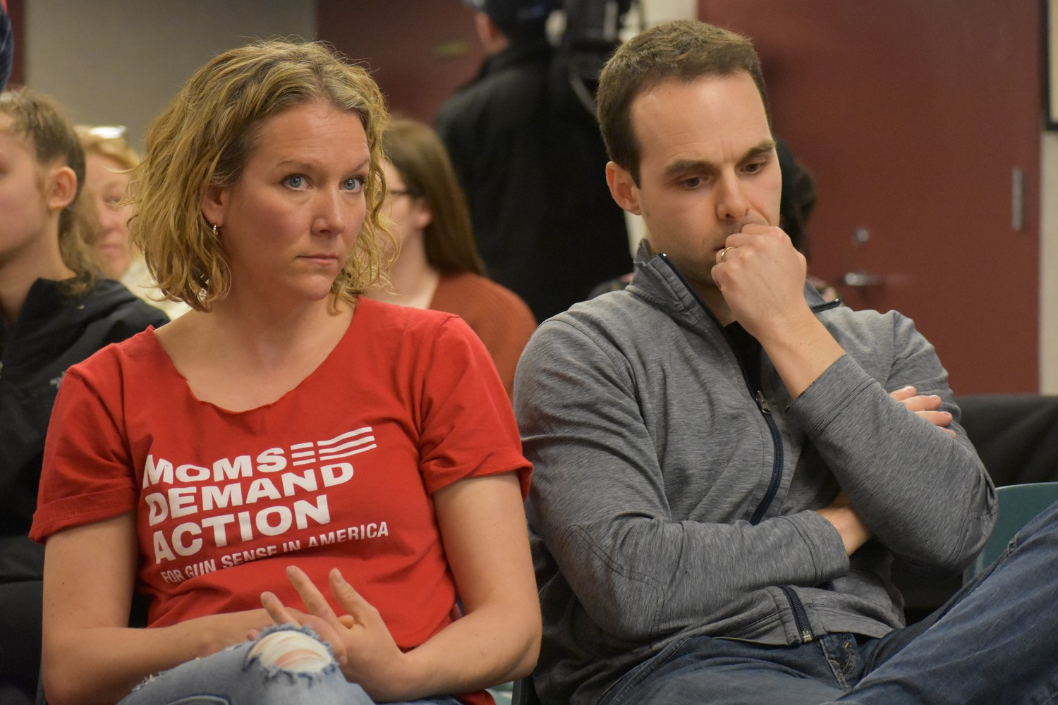 Tracy Bacher, a leader of Moms Demand Action in Nassau County, and Robert Gaafar, a Rockville Centre resident who escaped the mass shooting in Las Vegas last October, spoke at a forum about gun violence at the Rockville Centre Public Library on Saturday.