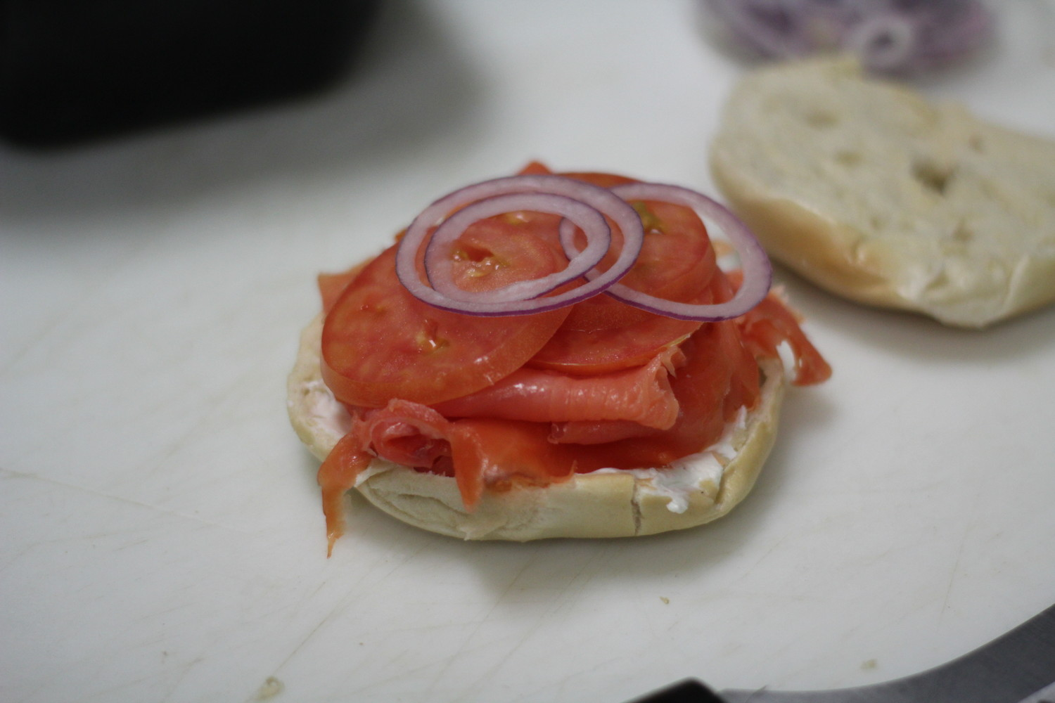 This bagel with lox was $6.95 at Seaford Bagels. The store also ran a 25th anniversary promotion through April that offers bagels for 25 cents on Mondays and Tuesdays.