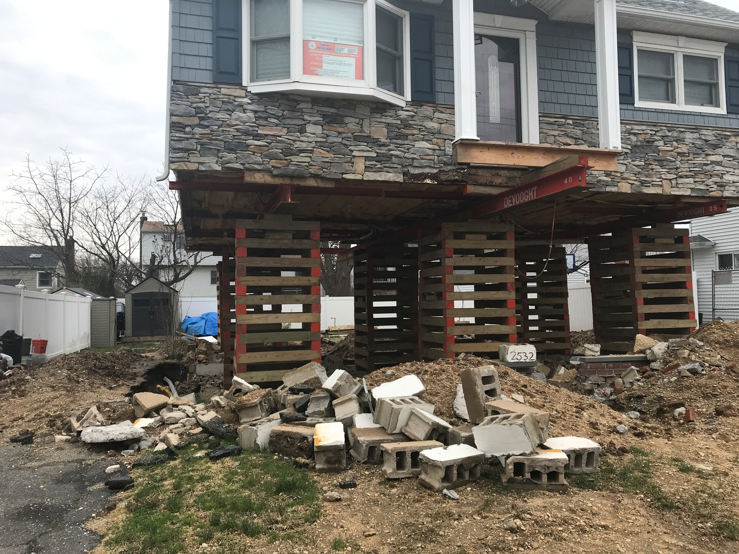 3.	The Dalys' house on Sycamore Drive in Wantagh was lifted but no further work– despite them giving the contractor $70,000.