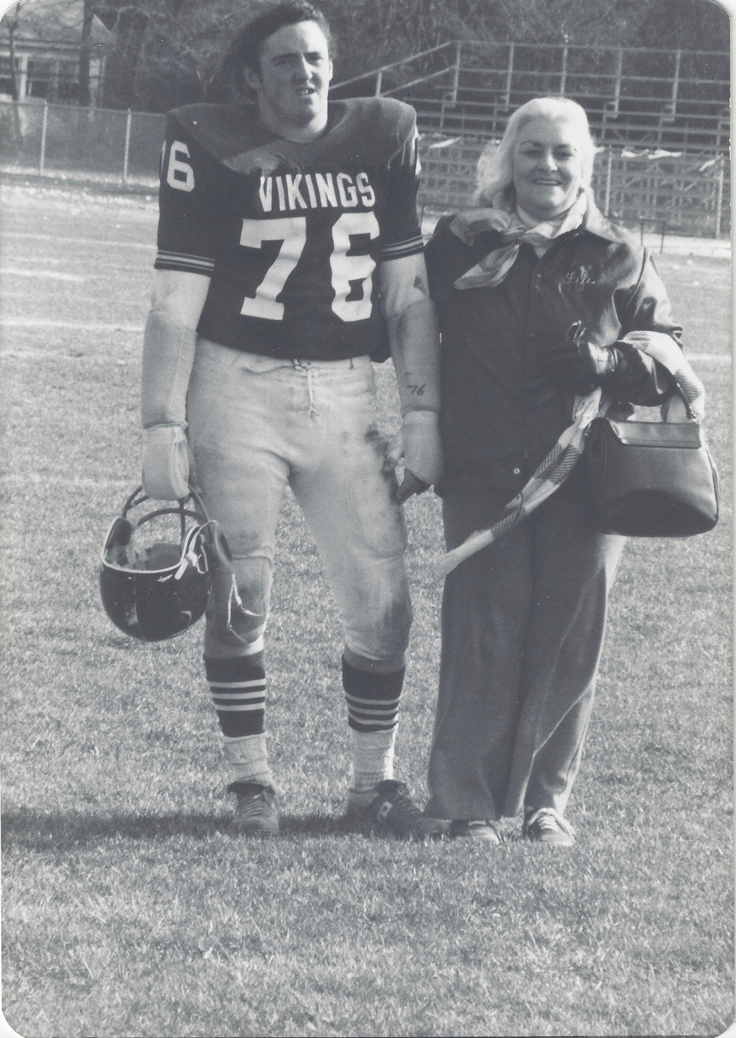Patrick, one of the McFaddens' five sons, played for the Seaford Vikings in a playoff game the day after his father died in 1976. Fifi sat in the stands while Patrick was given a special introduction in the game's opening ceremony.
