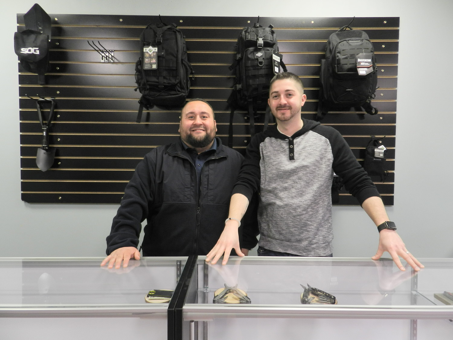 Co-owners Michael Grimaldi, left, and Brett Newman decided to open L.I. Tactical when they discovered they shared a passion for everyday carry tools.
