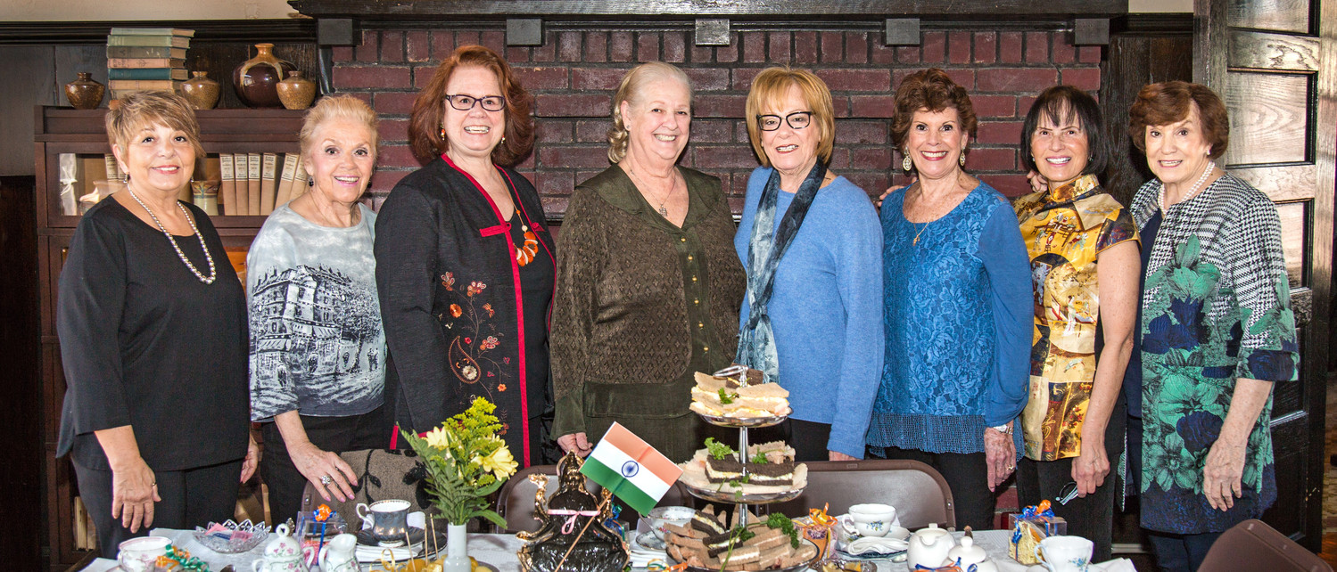 Many helped organize the party, including Marie Polemeni, left, Historical Society Co-chair Pat Barron, President Karen Adamo, keynote speaker Barbara Flak, Maxine Kline, Vice President Diane Sedat, Naomi Feller and Co-chair Peggy Cullimore.