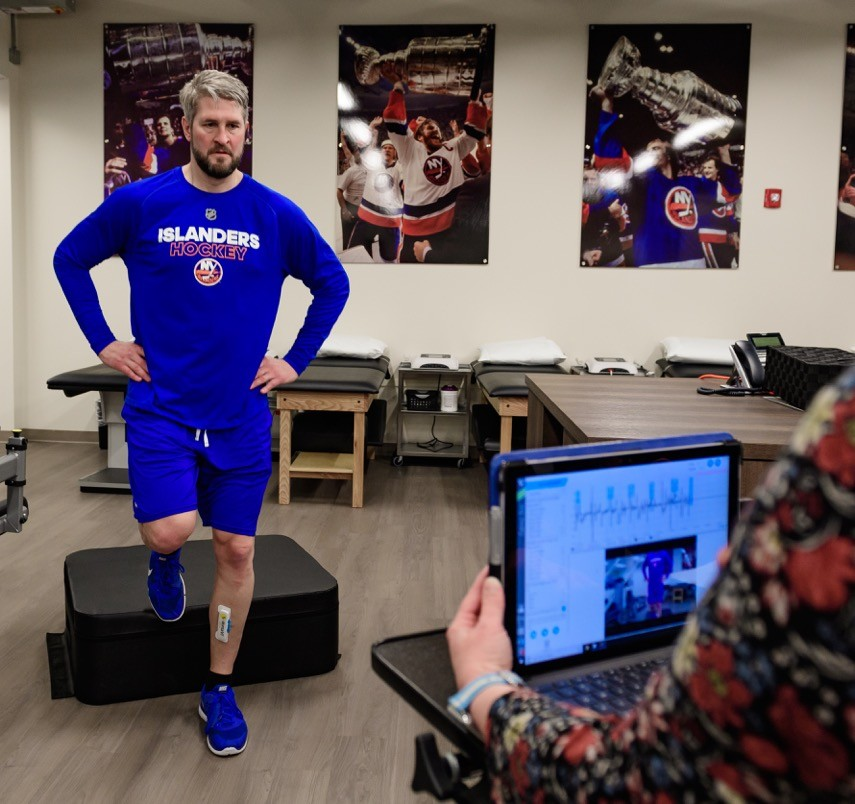 Eric Cairns, director of player development for the New York Islanders, demonstrated motion-capture technology.