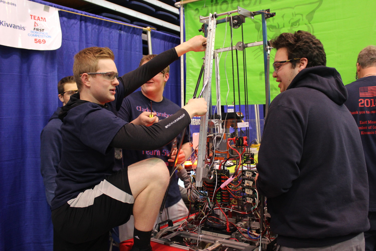 Students at W.T. Clarke High School are representing East Meadow at the 19th Long Island Robotics Competition, hosted from April 9 to 14 at Hofstra University by the education organization For Inspiration and Recognition of Science and Technology. Pictured are seniors Ethan Scherer and Brad Sweeney.