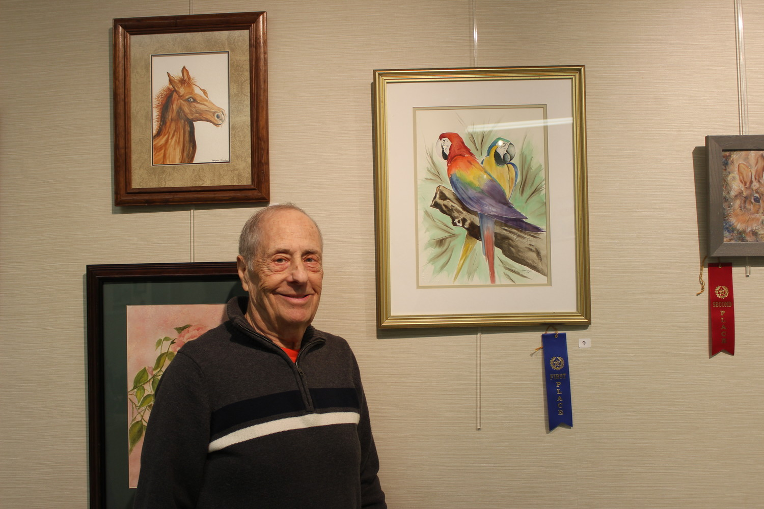 "Jerry Cohen took home first prize for his watercolor painting ""Can We Talk About it Later."""