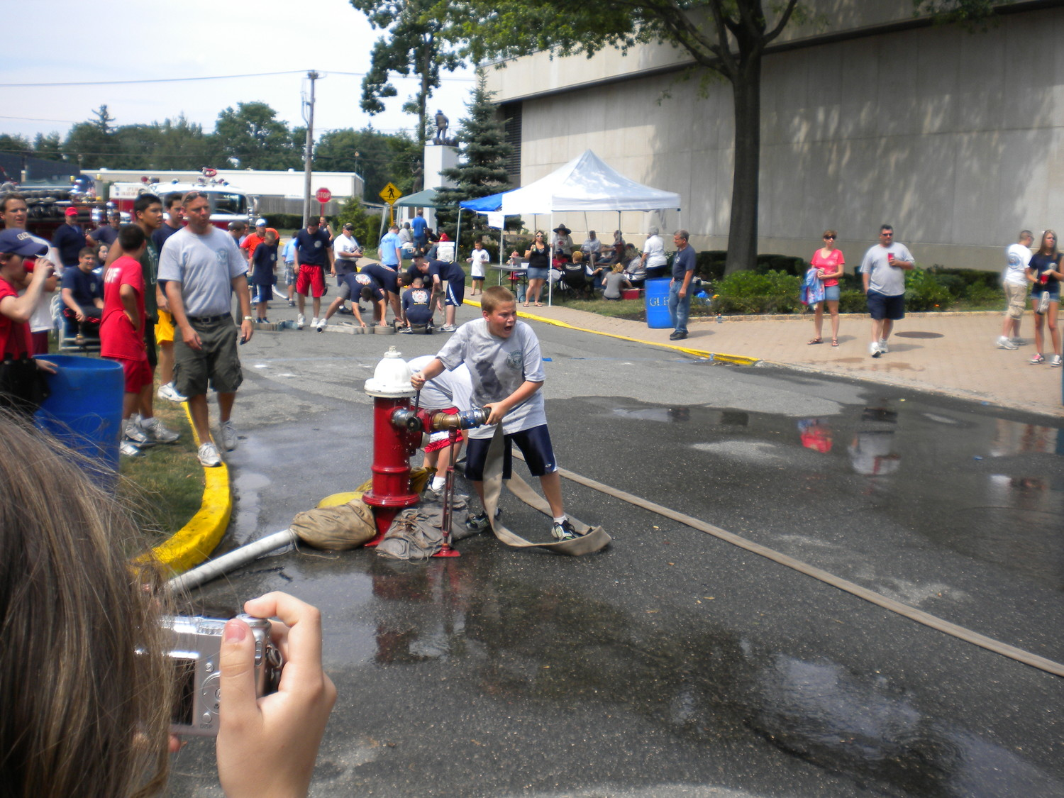 A Glen Cove Explorer competed in a hydrant-tapping race several years ago.