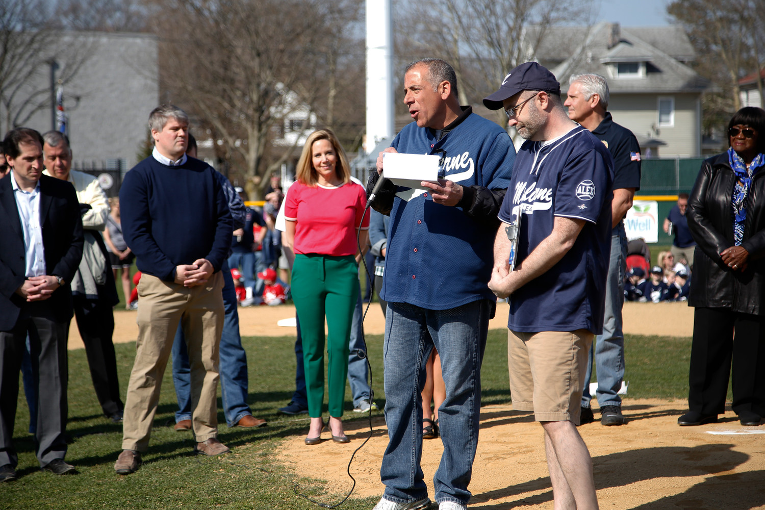 League President Joe Ariola spoke to the Opening Day crowd.